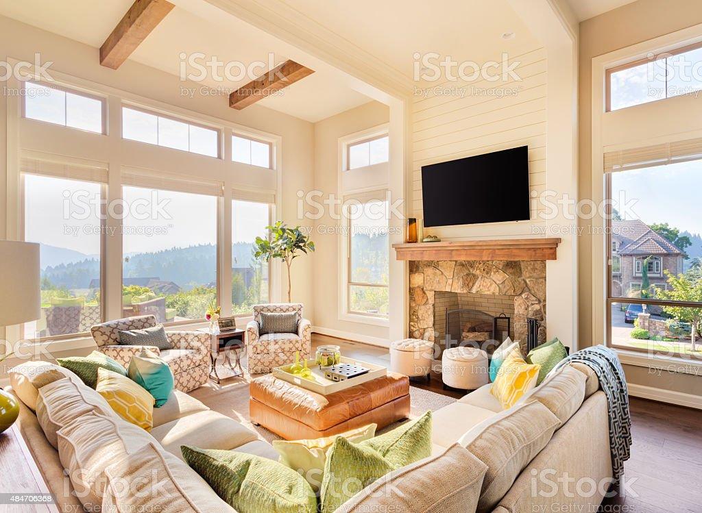 Luxuriöse Wohnzimmer In Neues Zuhause Lizenzfreies Stock Foto
