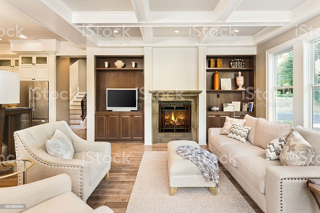 ... Luxurious Living Room In New Home Stock Photo ...