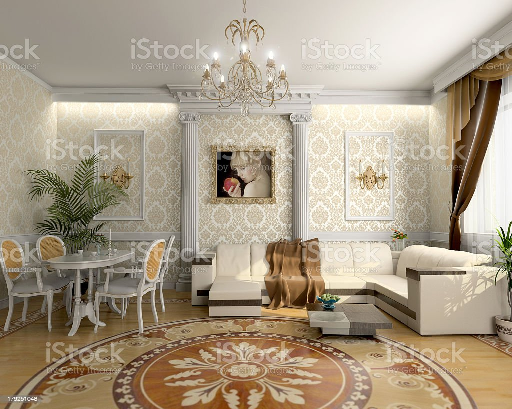 A Luxurious Living Room In Shades Of White And Brown Stock Photo Download Image Now Istock