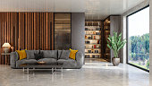 istock Luxurious Living Room Interior With Sofa And Bookshelf. Garden View From The Window. 1300435035