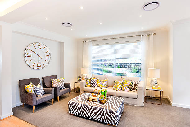Luxurious living room with animal pattern decoration furnitures – Foto