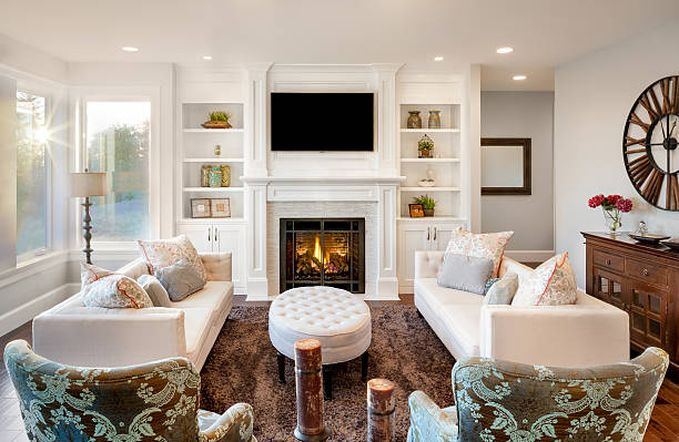 Luxurious Living Room With Fireplace Stock Photo