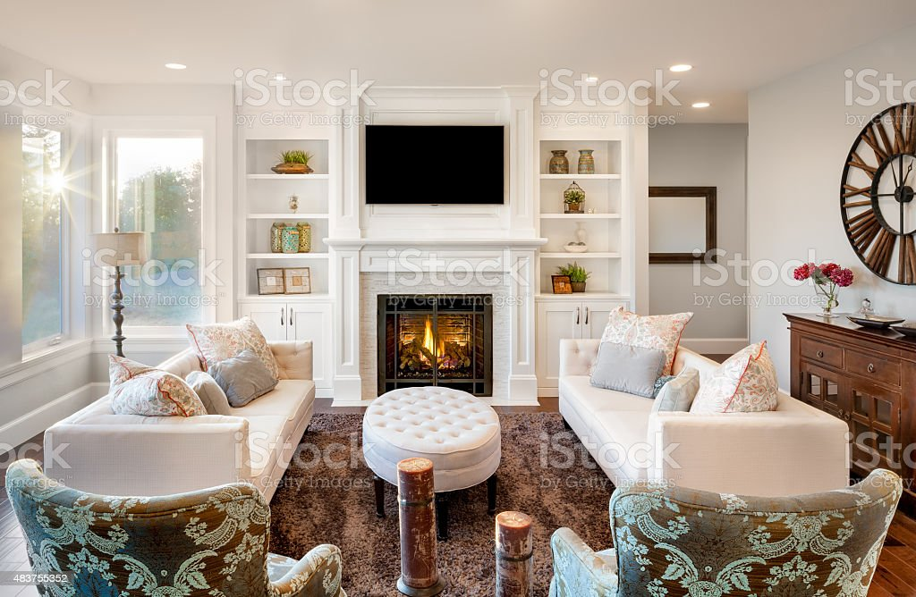 ... Luxurious Living Room With Fireplace Stock Photo ...