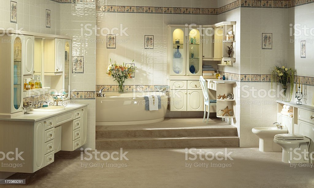 Luxurious master bathroom interior stock photo