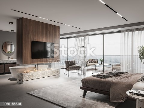 Interior of a bedroom with fireplace and tv on wall. 3D rendering of a luxurious master bedroom interior with large windows.