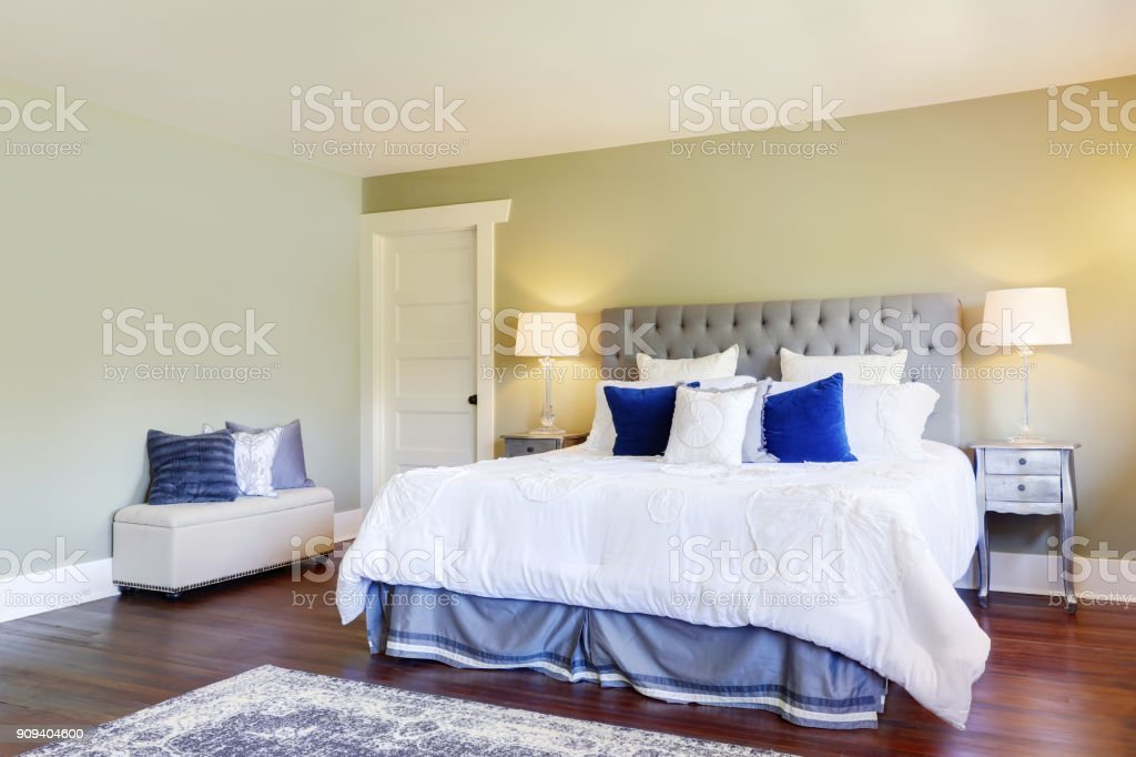 Luxurious Master Bedroom With Green Walls Stock Photo - Download Image Now