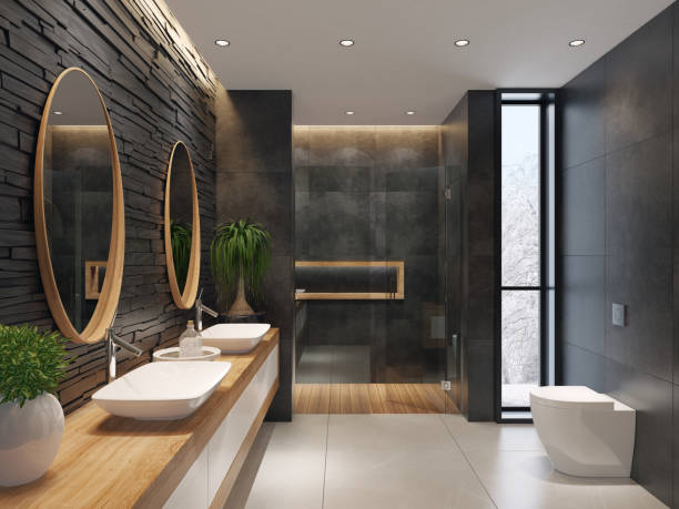 고급 스러운 미니 멀 욕실이 슬레이트 검은 돌 담 - 화장실 가정용 시설 뉴스 사진 이미지