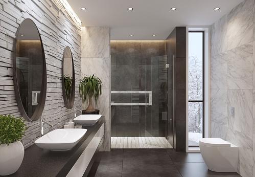 luxurious minimalist bathroom with slate white stone wall