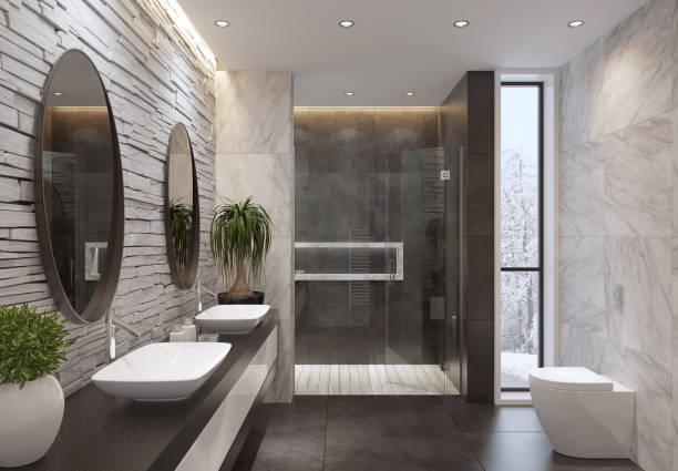 Minimalistische Luxusbadezimmer mit Schiefer weißen Steinmauer – Foto