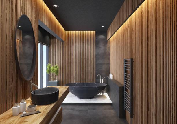 Minimalistische Luxusbadezimmer mit gestreiften Holzwände – Foto