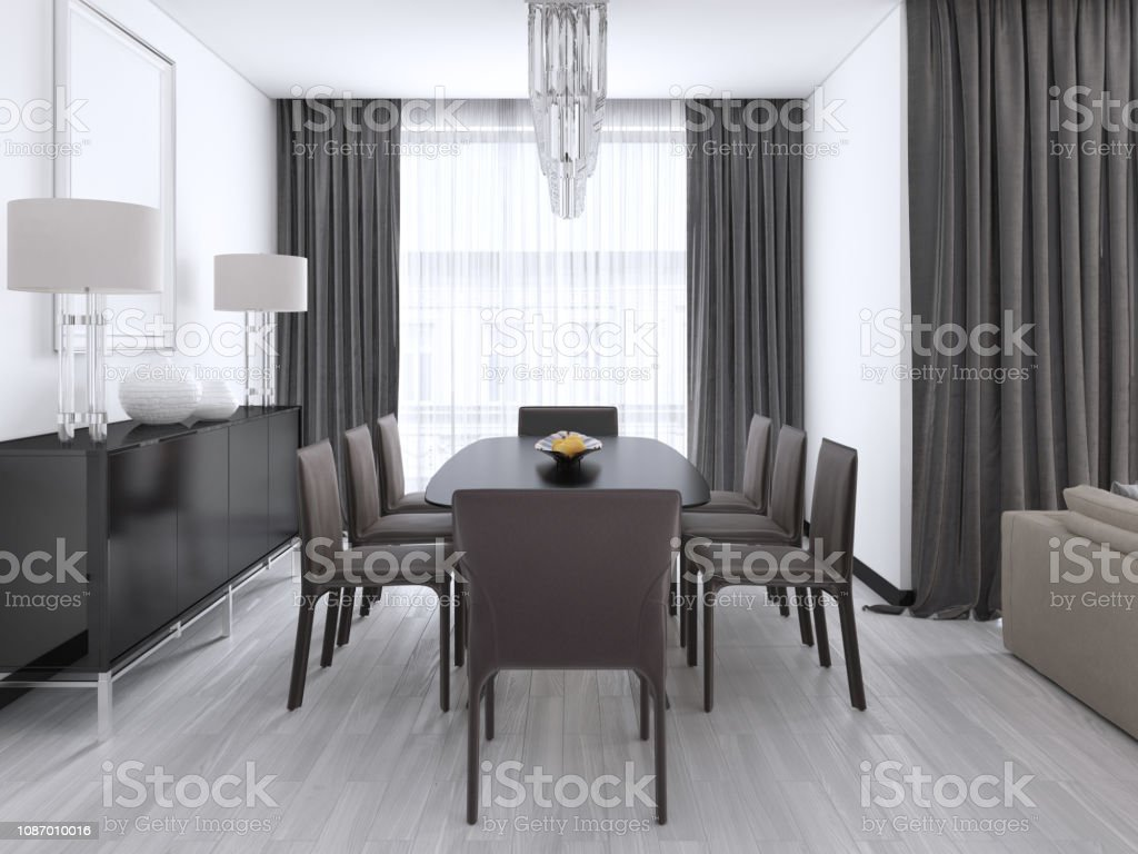 Luxurious Modern Dining Room With A Large Table And Cushioned Chairs And A Crystal Chandelier Over Stock Photo Download Image Now Istock