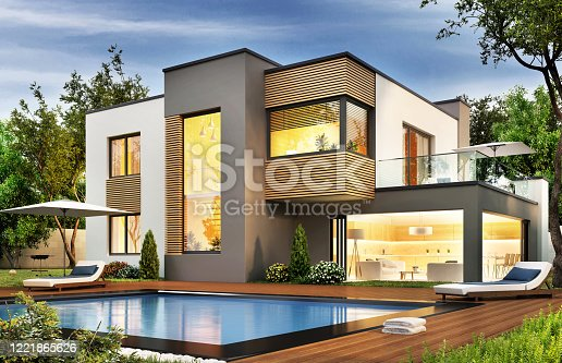 Modern house with terrace and a swimming pool