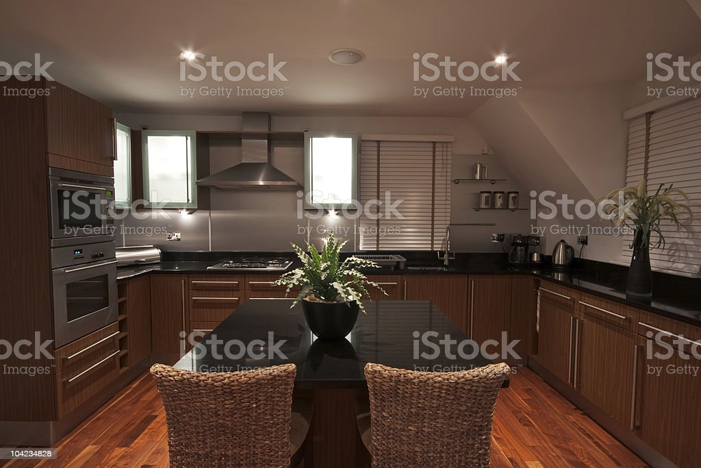 Luxurious modern kitchen with decorative plant royalty-free stock photo