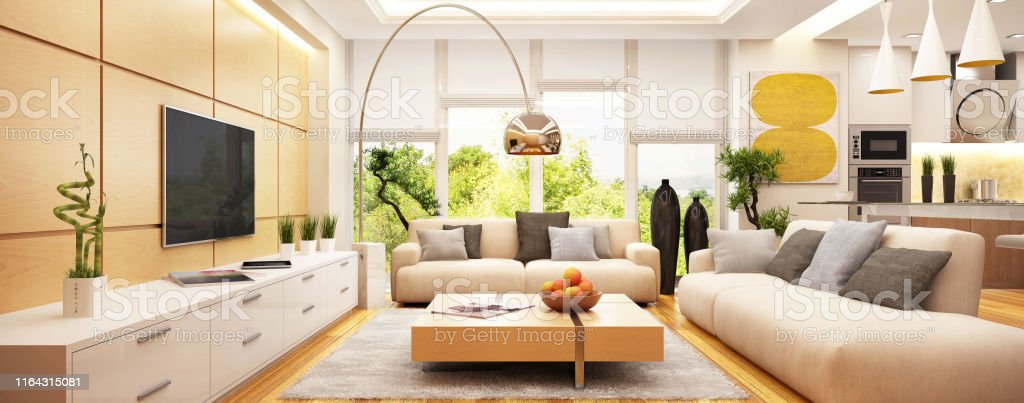 Luxurious Modern Living Room With Kitchen In One Space Stock Photo Download Image Now Istock