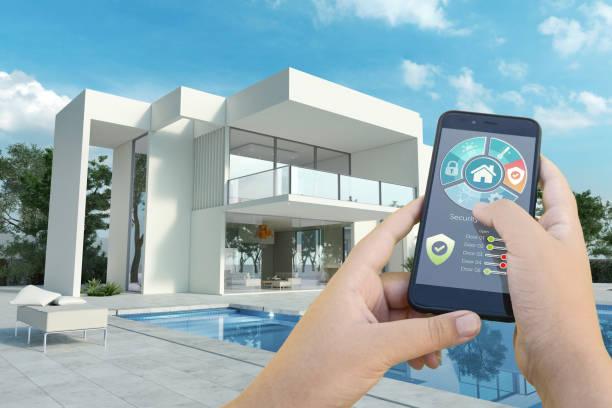 Luxurious modern smart house stock photo