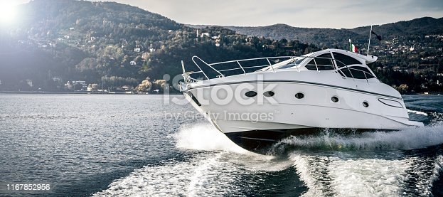 luxurious motor boat sailing on the lake