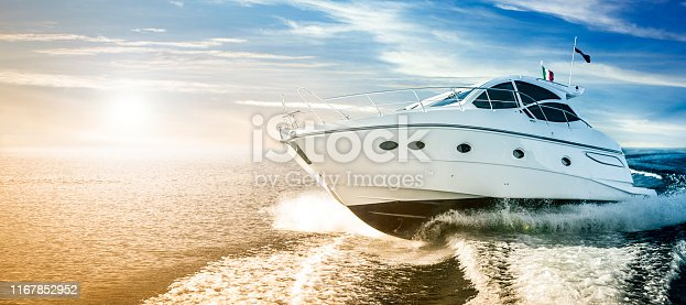 luxurious motor boat sailing on the sea