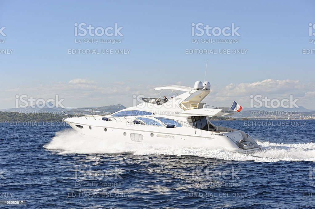 Luxurious Motor Yacht at the French Riviera stock photo