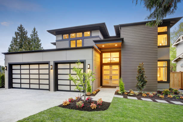 luxurious new construction home in bellevue, wa - modern stock pictures, royalty-free photos & images