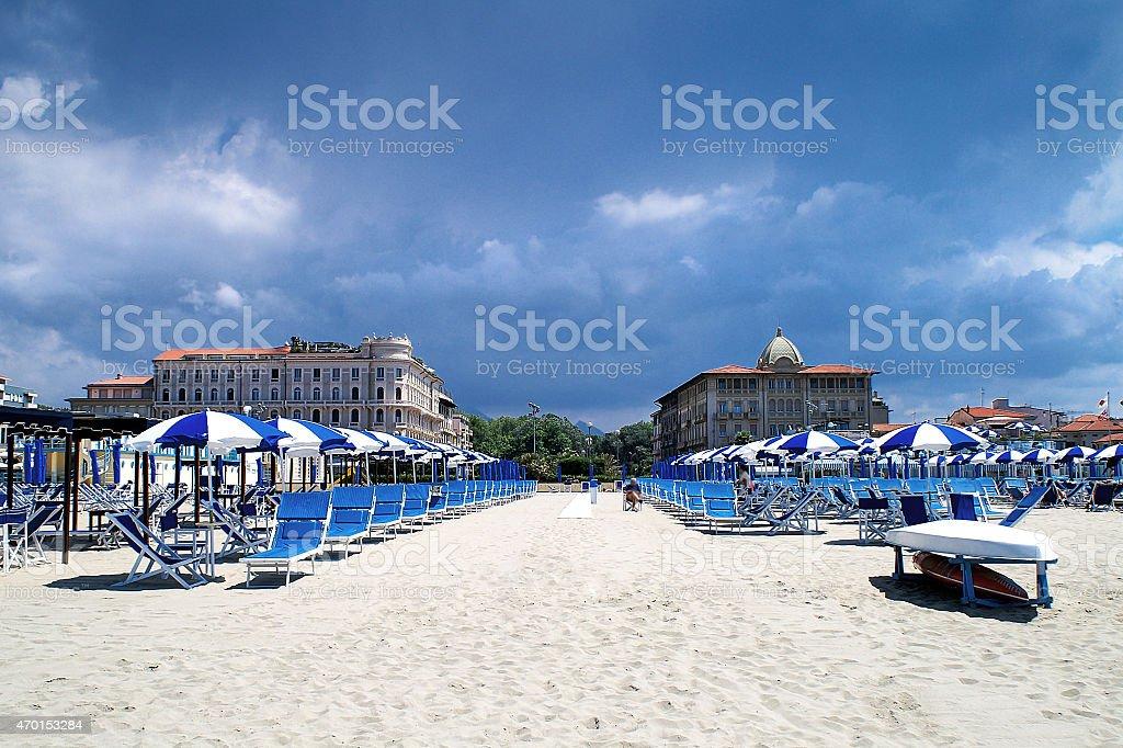 luxurious rest on the beach in Viareggio in the low season stock photo