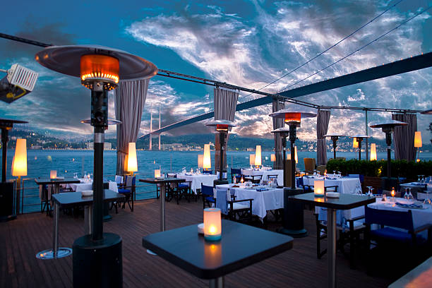 luxurious restaurant and night club in bosporus istanbul turkey - entertainment building stock pictures, royalty-free photos & images