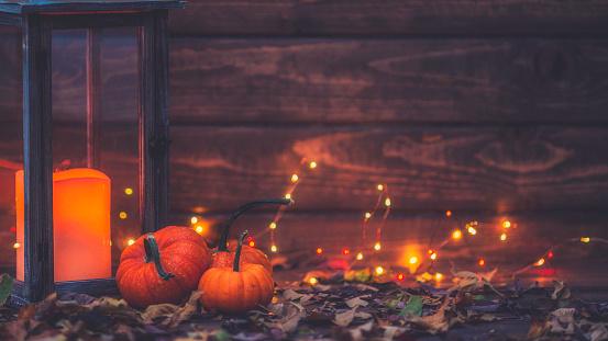 Luxurious still life arrangement for Thanksgiving with lantern and pumpkins