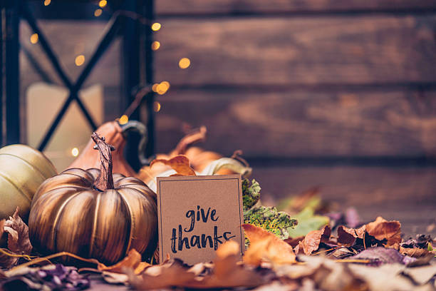 Luxurious still life arrangement for Thanksgiving with message. Give Thanks stock photo