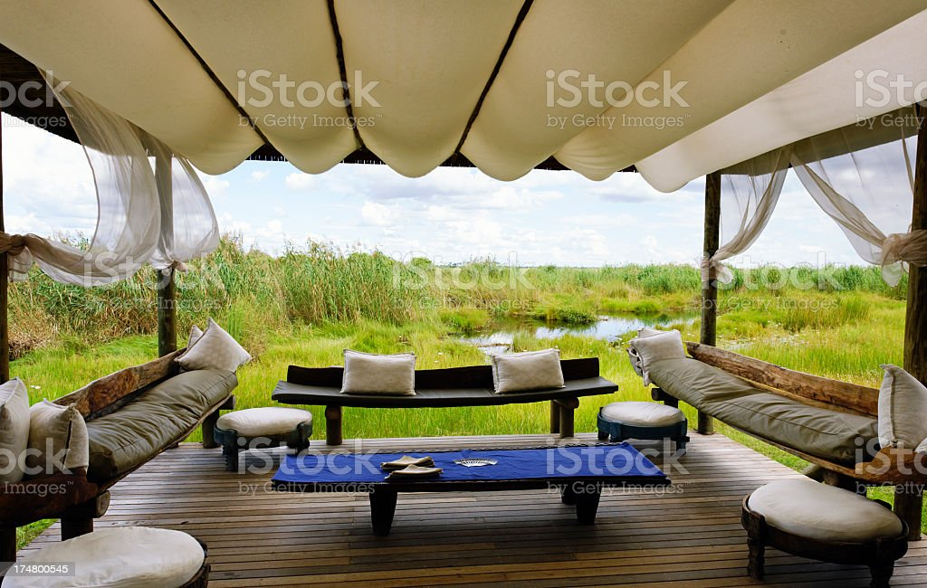 Luxurious tent camp stock photo