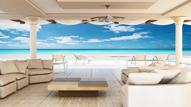 luxuriöse villa interieur mit blick aufs meer. inneren 3d-rendering - 5 sterne hotel türkei stock-fotos und bilder