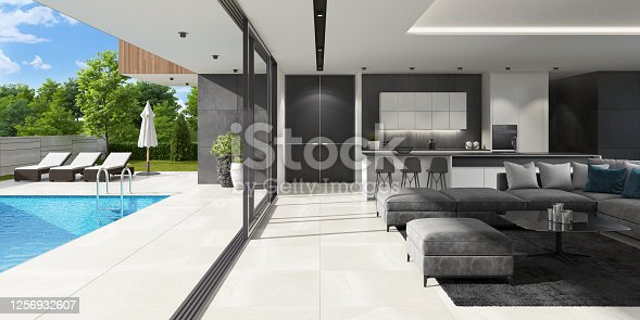 Luxurious villa with outside swimming pool at summer scene. Big blue swimming pool near living room and kitchen.  Stylish and comfortable sun area with a modern brown sunbeds.  Dark gray accent slate stone walls with natural plants. Natural floor tiles. Ceiling with white spotlights.  +++ background is my photo.
