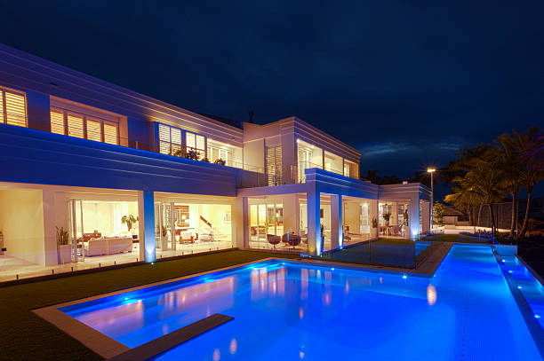 luxurious villa with a big pool - standing water stock pictures, royalty-free photos & images