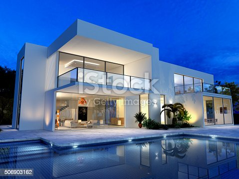 istock Luxurious villa with pool 506903162