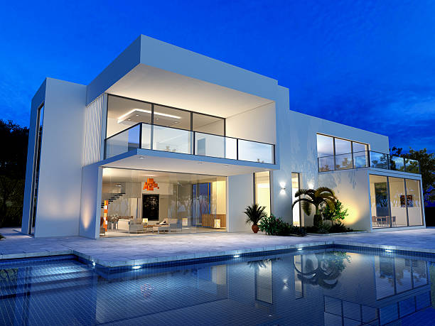 luxurious villa with pool - architecture stock photos and pictures