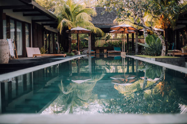 Luxurious villa with swimming pool in Bali Luxurious villa with swimming pool in Bali holiday villa stock pictures, royalty-free photos & images