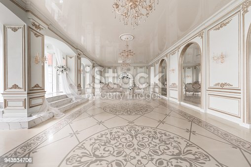 istock Luxurious vintage interior with fireplace in the aristocratic style. Large Windows and mirrors. Columns and arches, ornament on the glossy floor 943834706