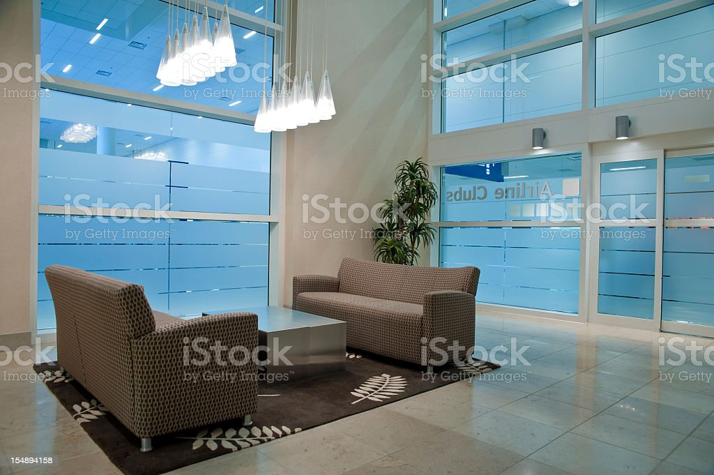 Luxurious waiting room in airport stock photo
