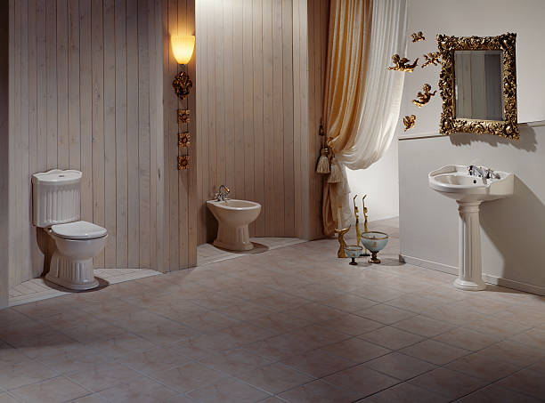 Luxurious WC A classical restroom grifare stock pictures, royalty-free photos & images