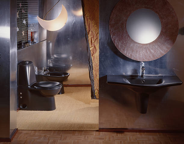 Luxurious WC An avantgarde restroom with aluminuim walls and black sanitaryware grifare stock pictures, royalty-free photos & images