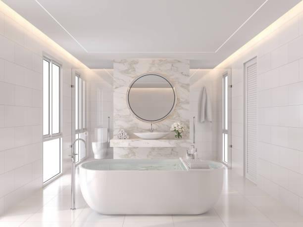 Luxuriöseweiße Badezimmer modernen Stil 3d render – Foto