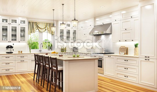 Luxurious white kitchen in a beautiful house