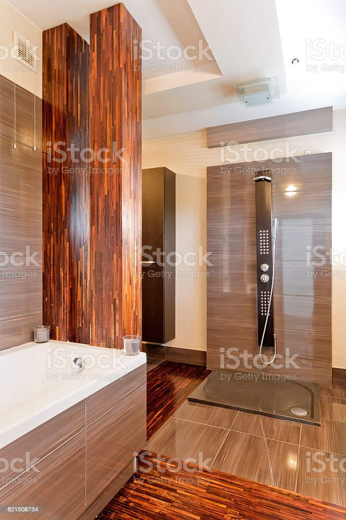 Luxurious wooden bathroom foto stock royalty-free