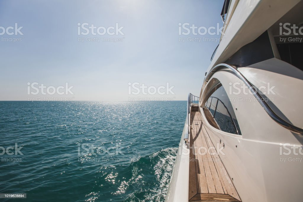 luxurious yacht motorboat in the sea stock photo