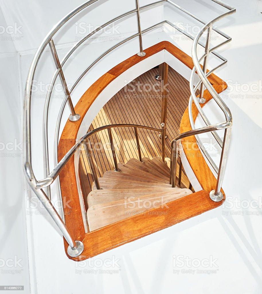 luxurious yacht stairs stock photo