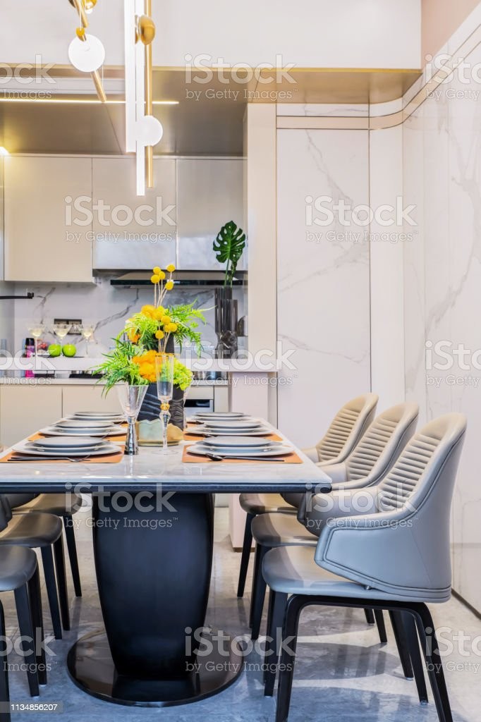 Luxuriously Decorated Indoor Open Plan Kitchen Restaurant Stock Photo Download Image Now Istock