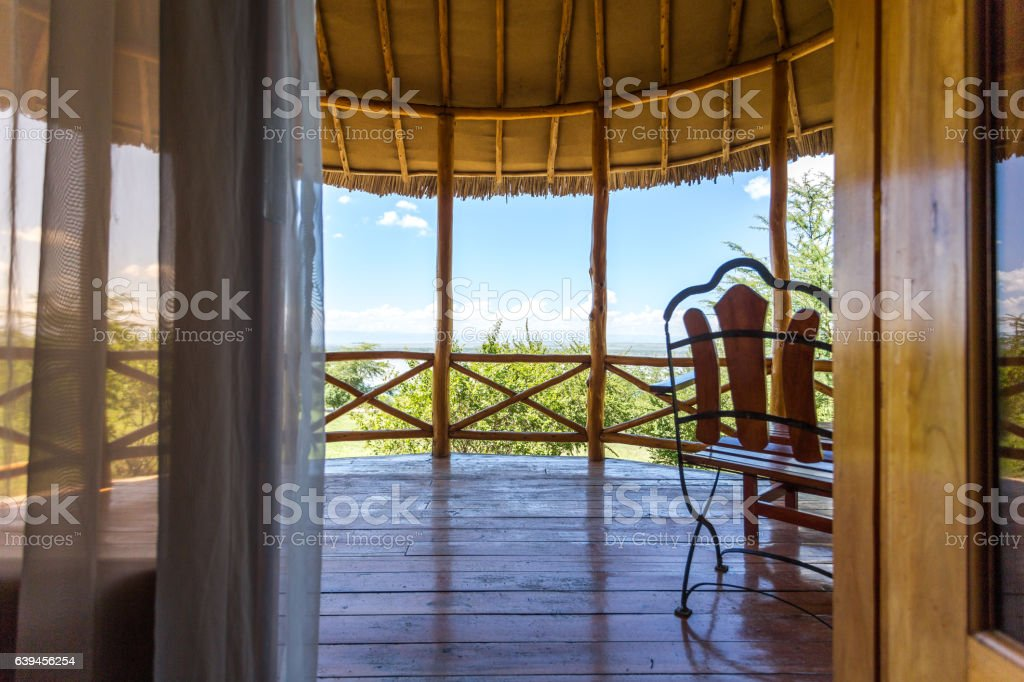 Luxury african lodging by Elementaita Lake, Kenya stock photo