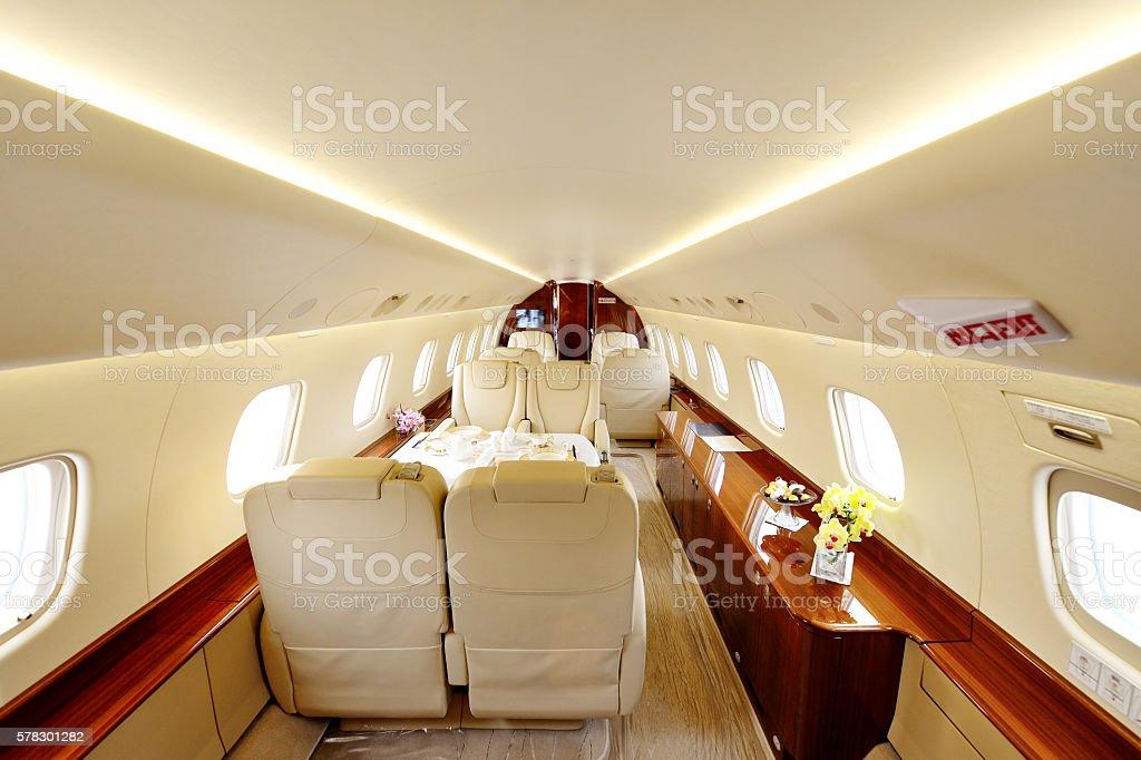 Luxury Airplane Passenger Cabin stock photo