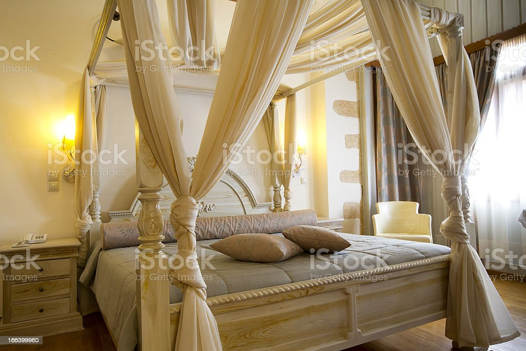 Luxury and classic hotel bedroom stock photo