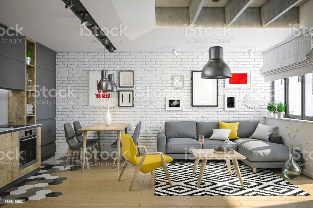 Luxury and cozy small living room for young and wild people stock photo