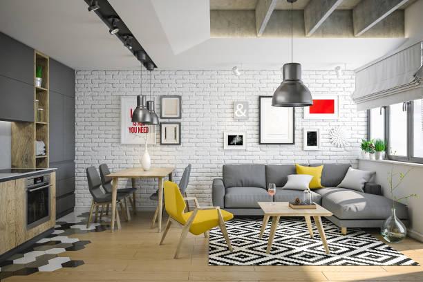 luxus und gemütliches kleines wohnzimmer für jung und wild - wohndekoration stock-fotos und bilder