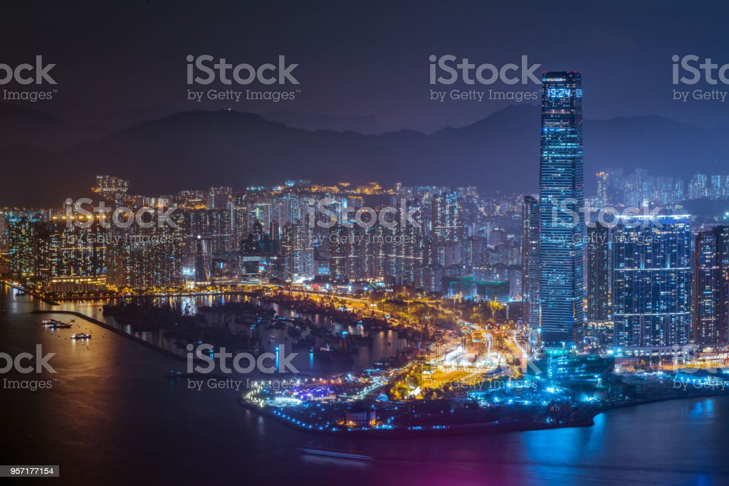 luxury and dissipation cityline at night stock photo